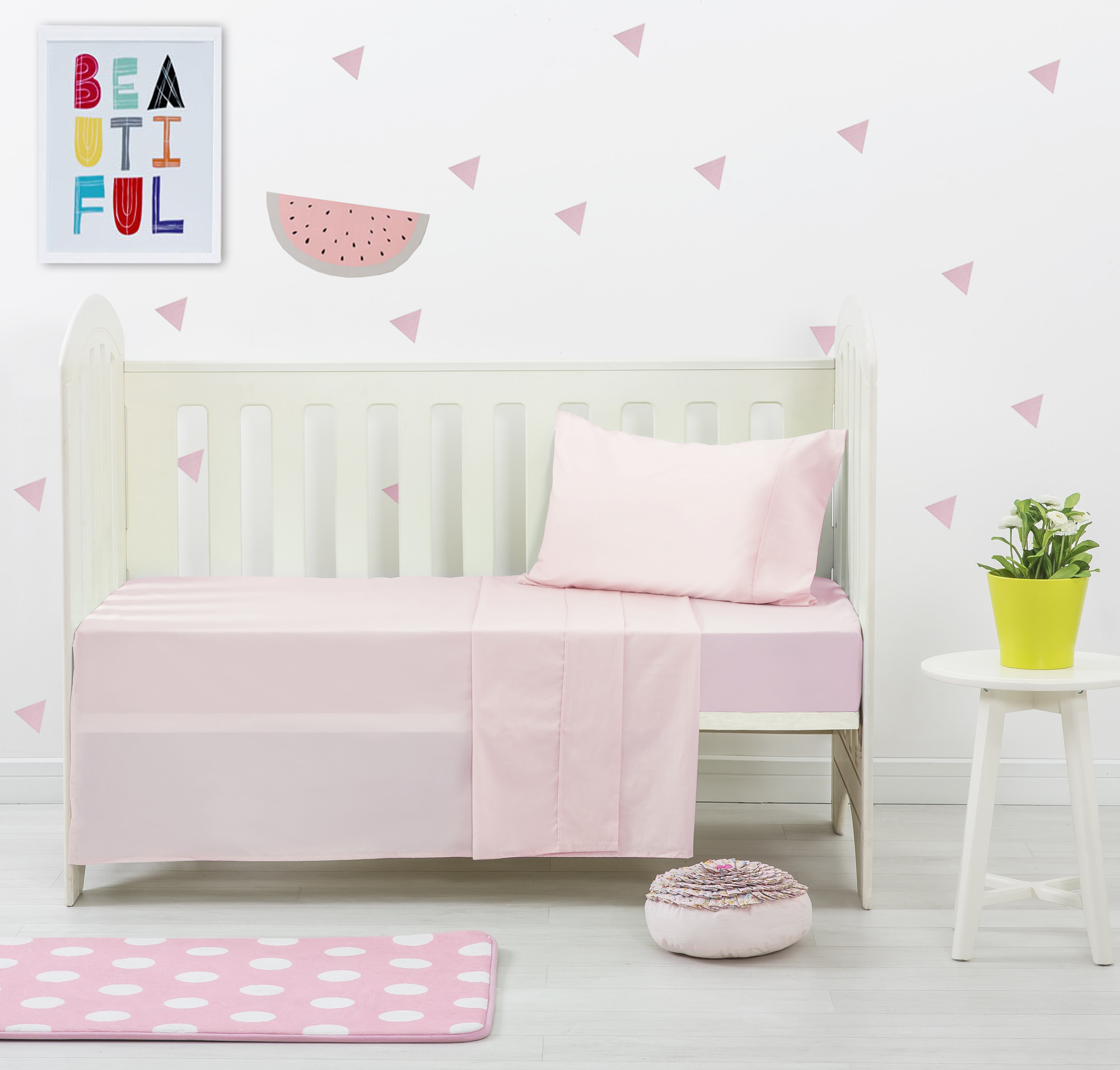 Pink Dreamaker Baby Egyptian Cotton Plain Dyed Cot Sheet Set ...