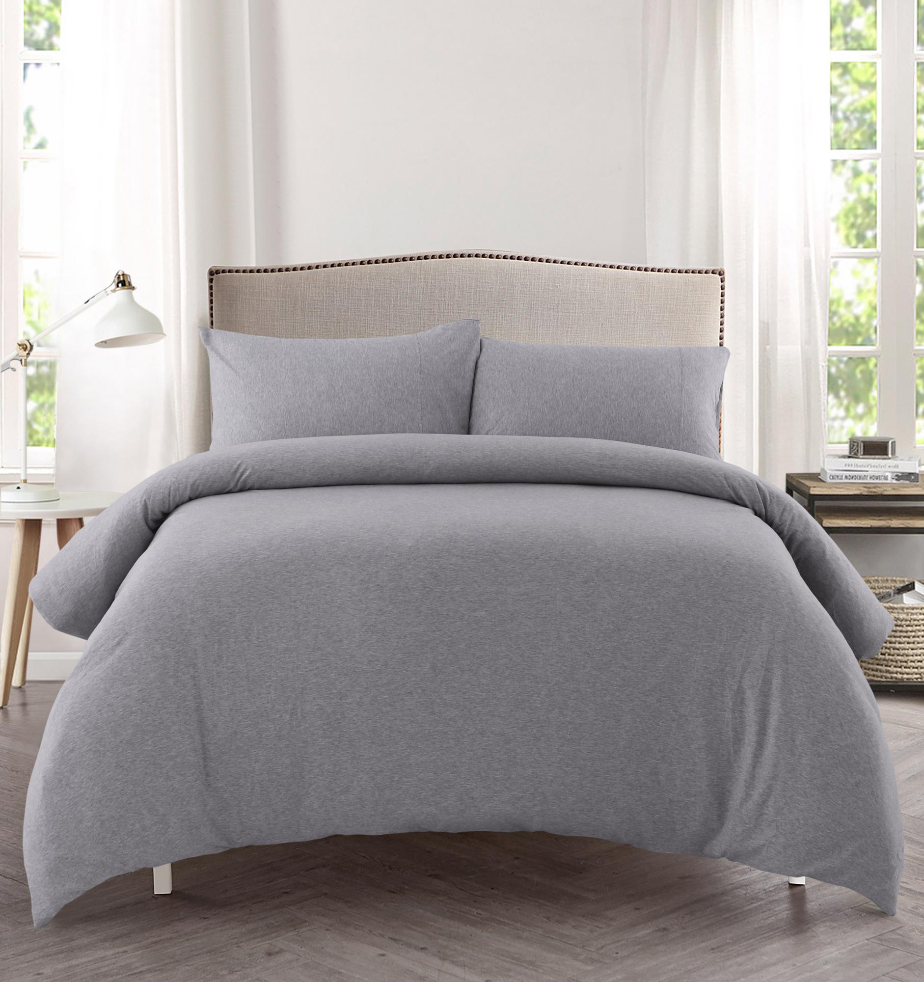 Dreamaker Grey Jersey Cotton Quilt Cover Set Reviews Temple Webster