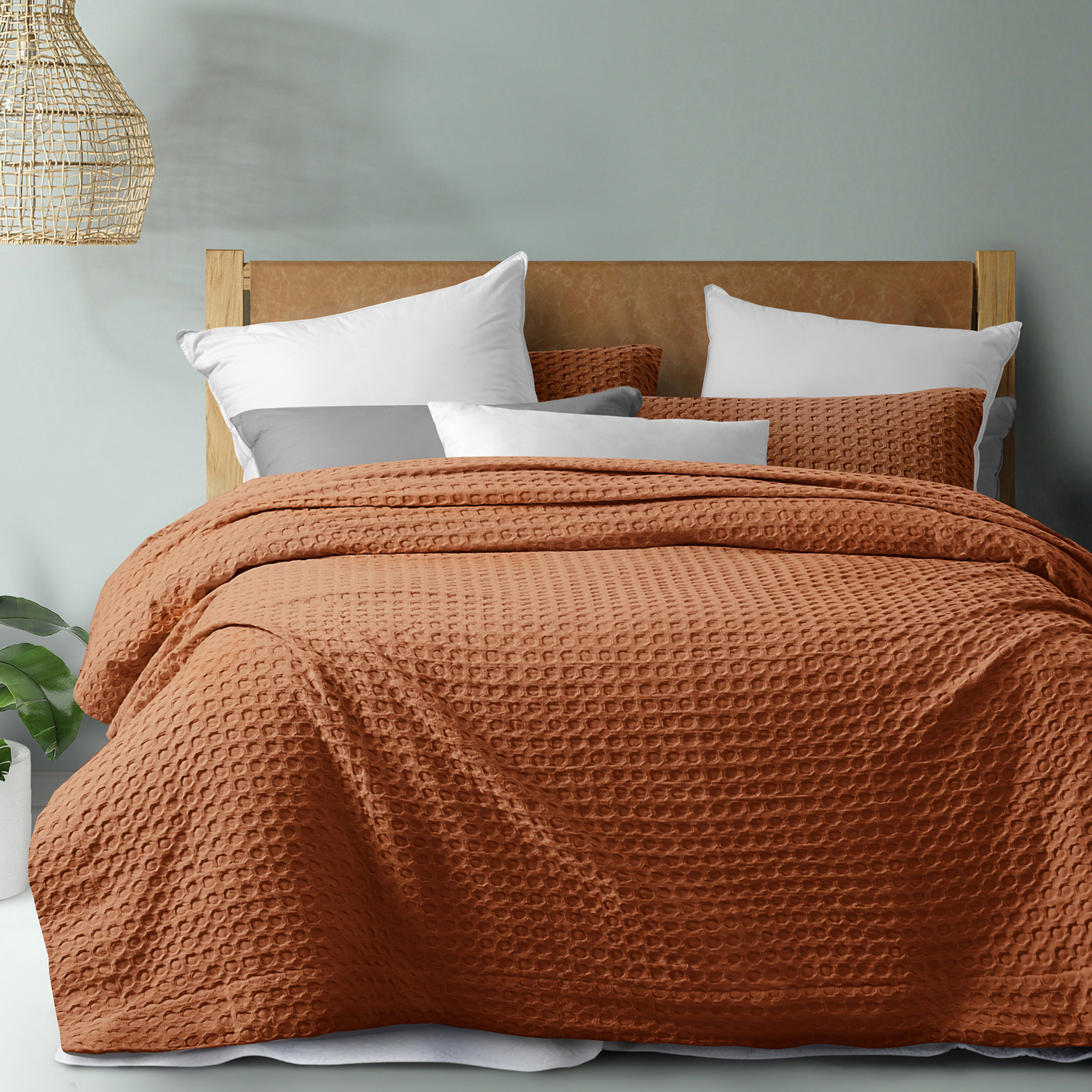 Dreamaker Rust Cotton Waffle Quilt Cover Set Temple Webster