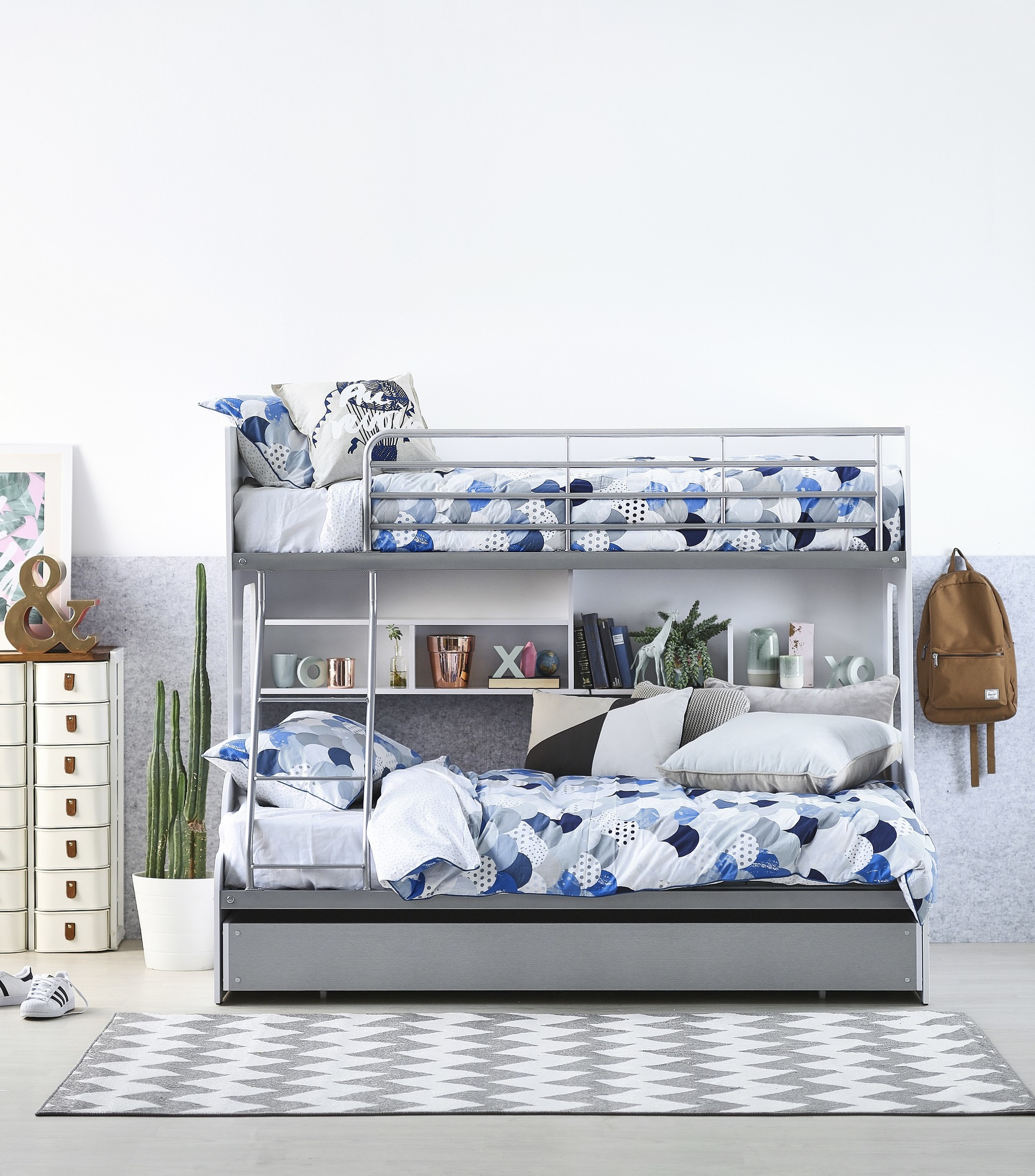 New White Silver Single Over Double Trio Bunk Bed With Shelves