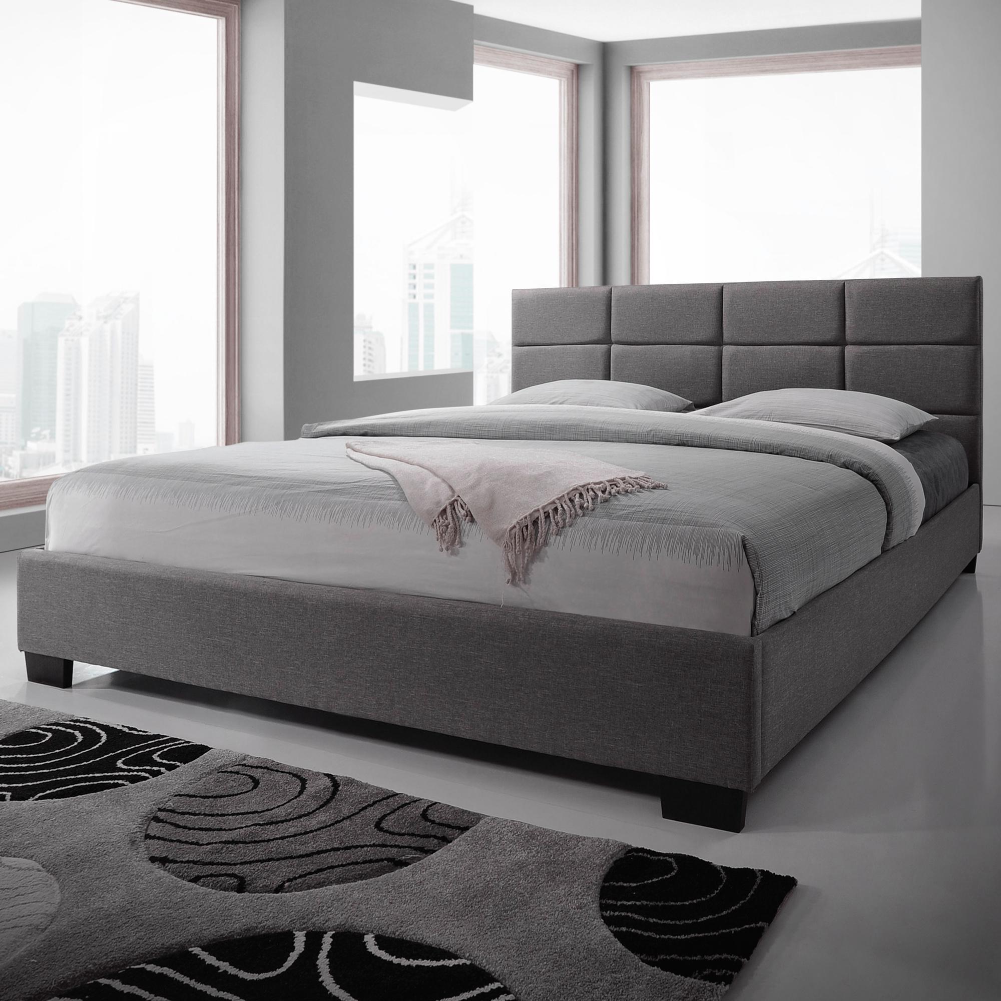 New Light Grey Liam Upholstered Bed Frame Vic Furniture Beds Ebay