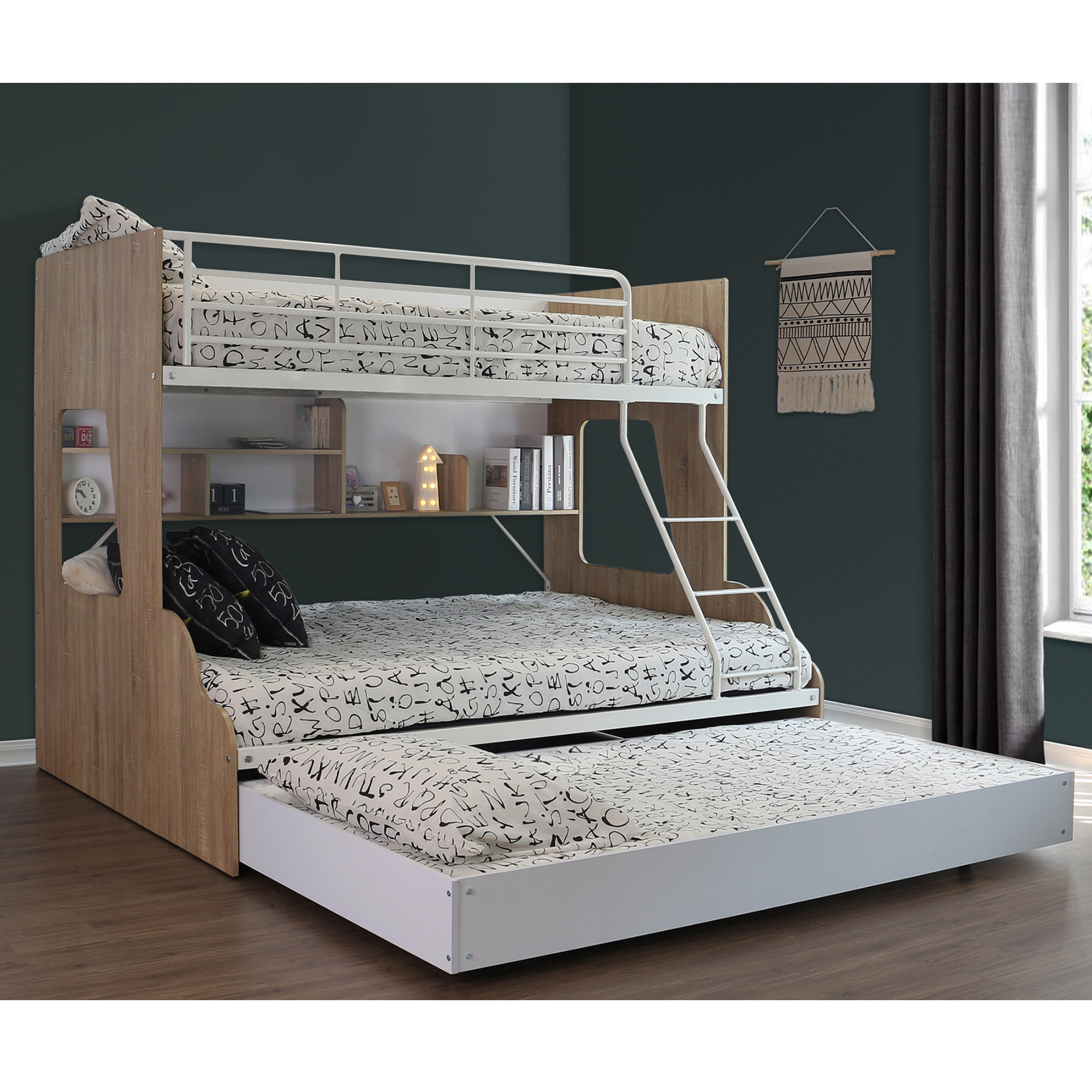Picture of: Vic Furniture White Single Over Double Trio Bunk Bed With Shelves Trundle Reviews Temple Webster