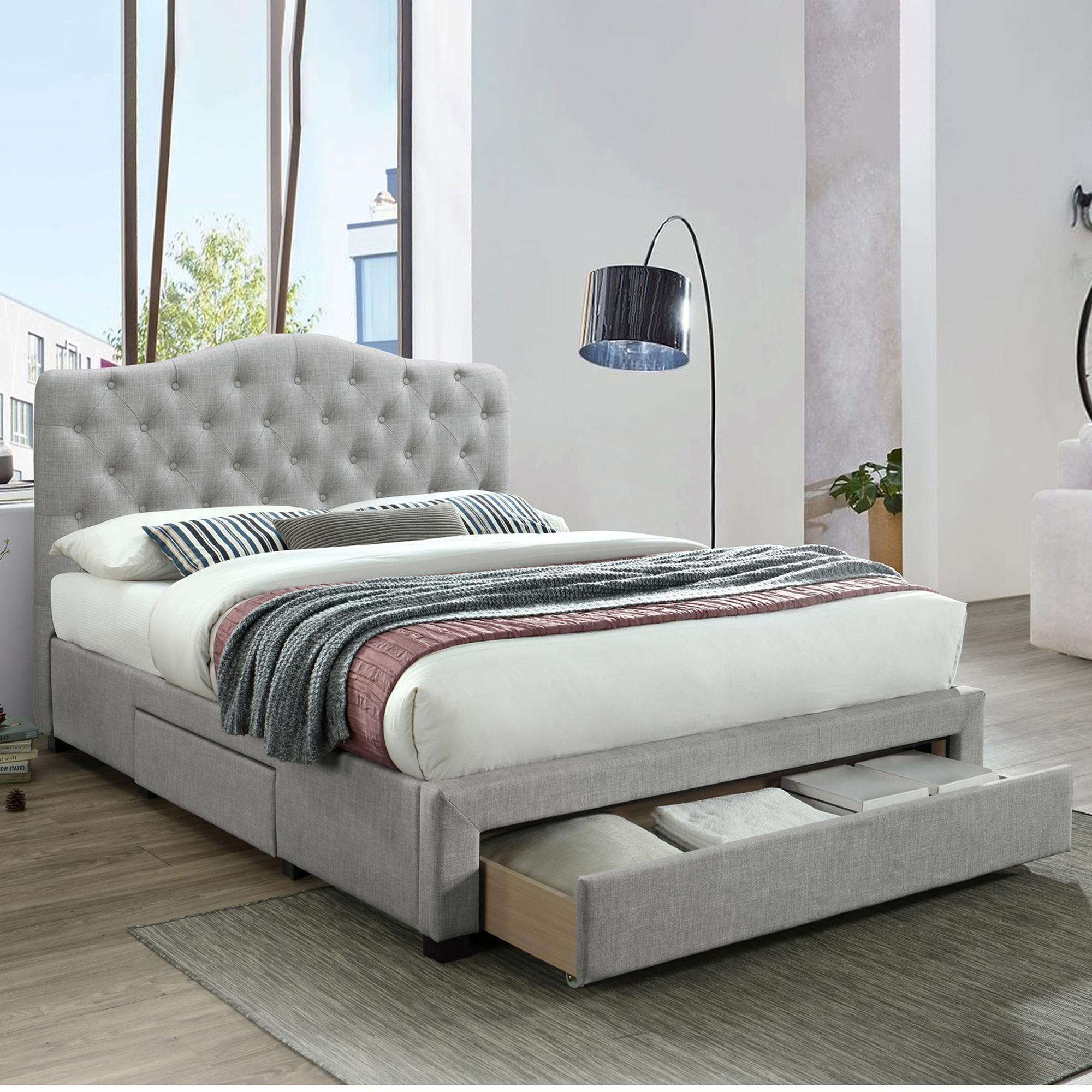 Vic Furniture Grey Kiev Upholstered Bed Frame With Storage Temple Webster