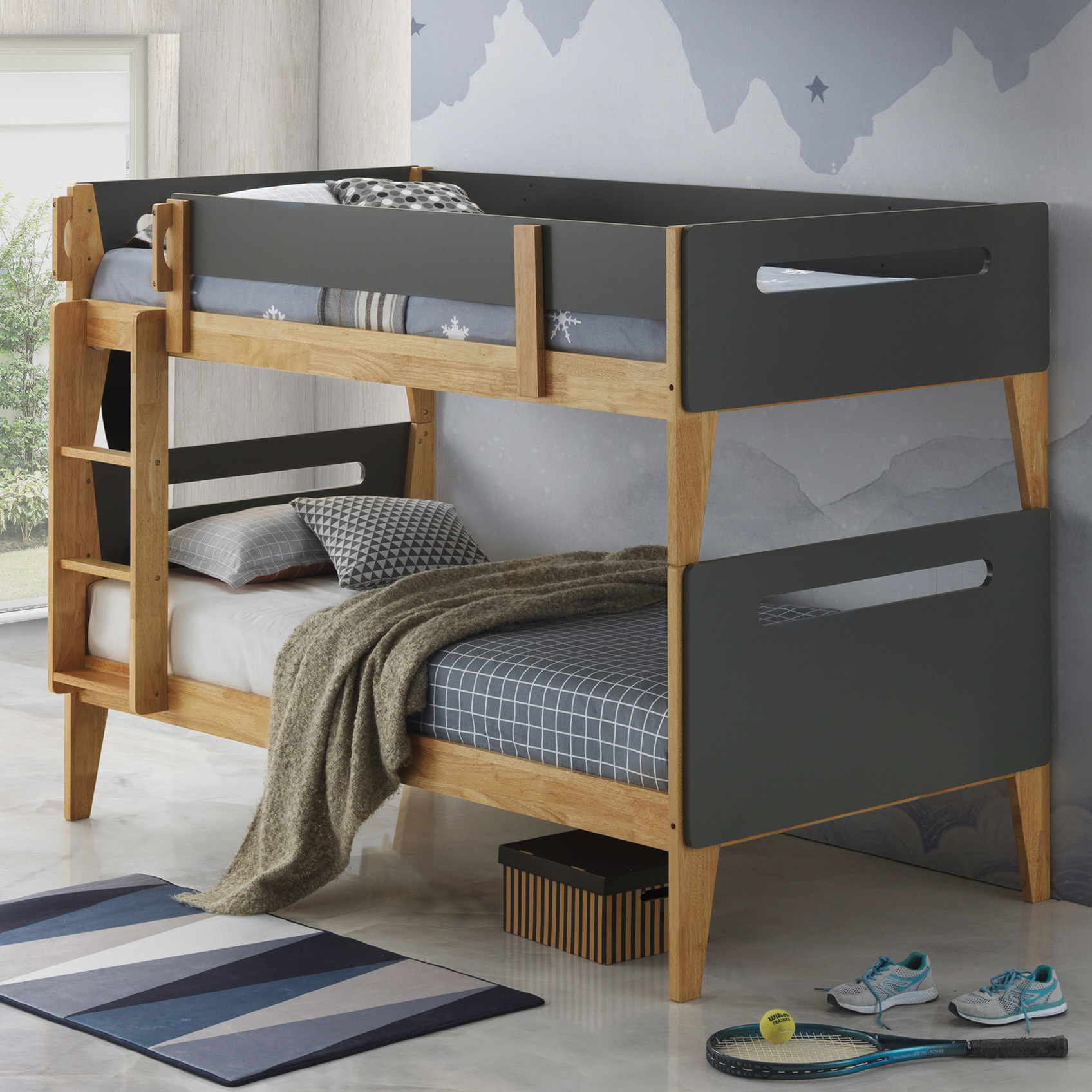 Picture of: Vic Furniture Natural Charcoal Casla Bunk Bed Reviews Temple Webster