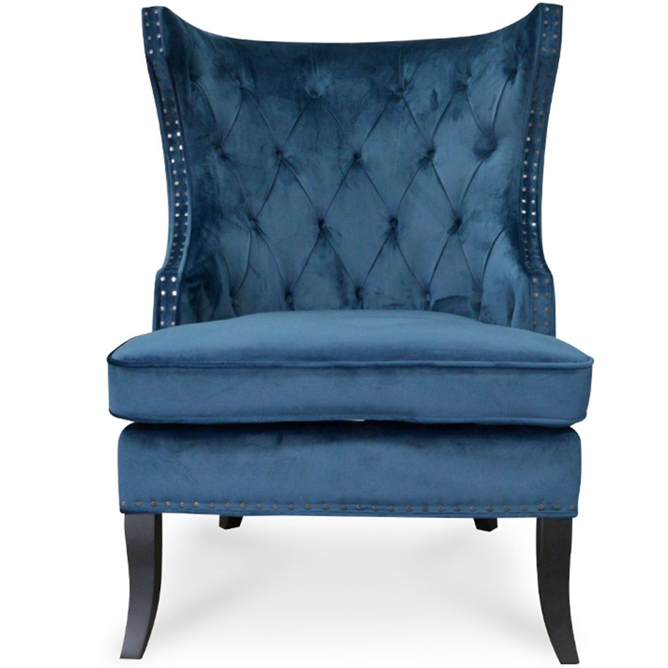 New Navy Blue Studded Nathaniel Velvet Armchair Harper