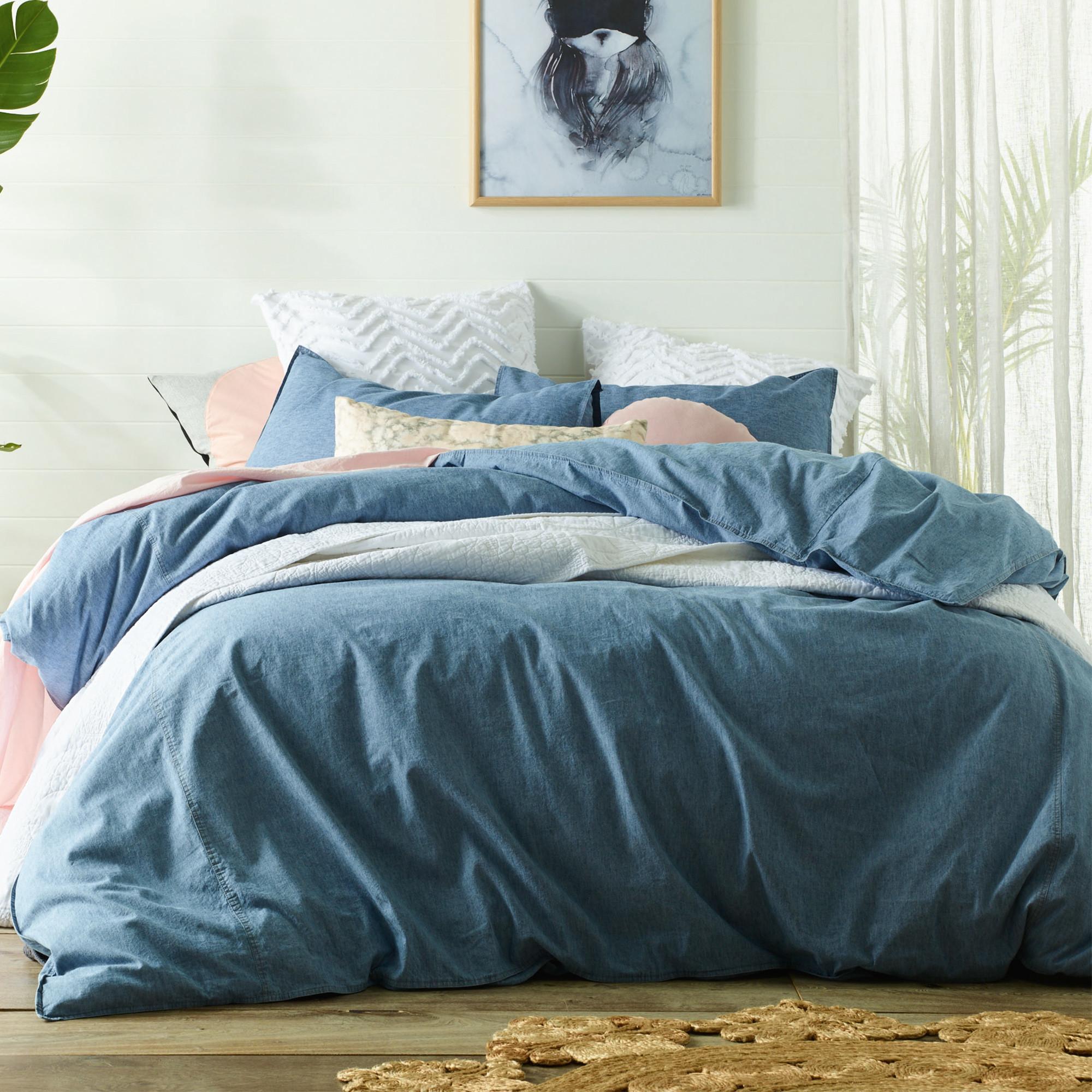 New Stonewashed Denim Linen Amp Cotton Quilt Cover Set Ebay