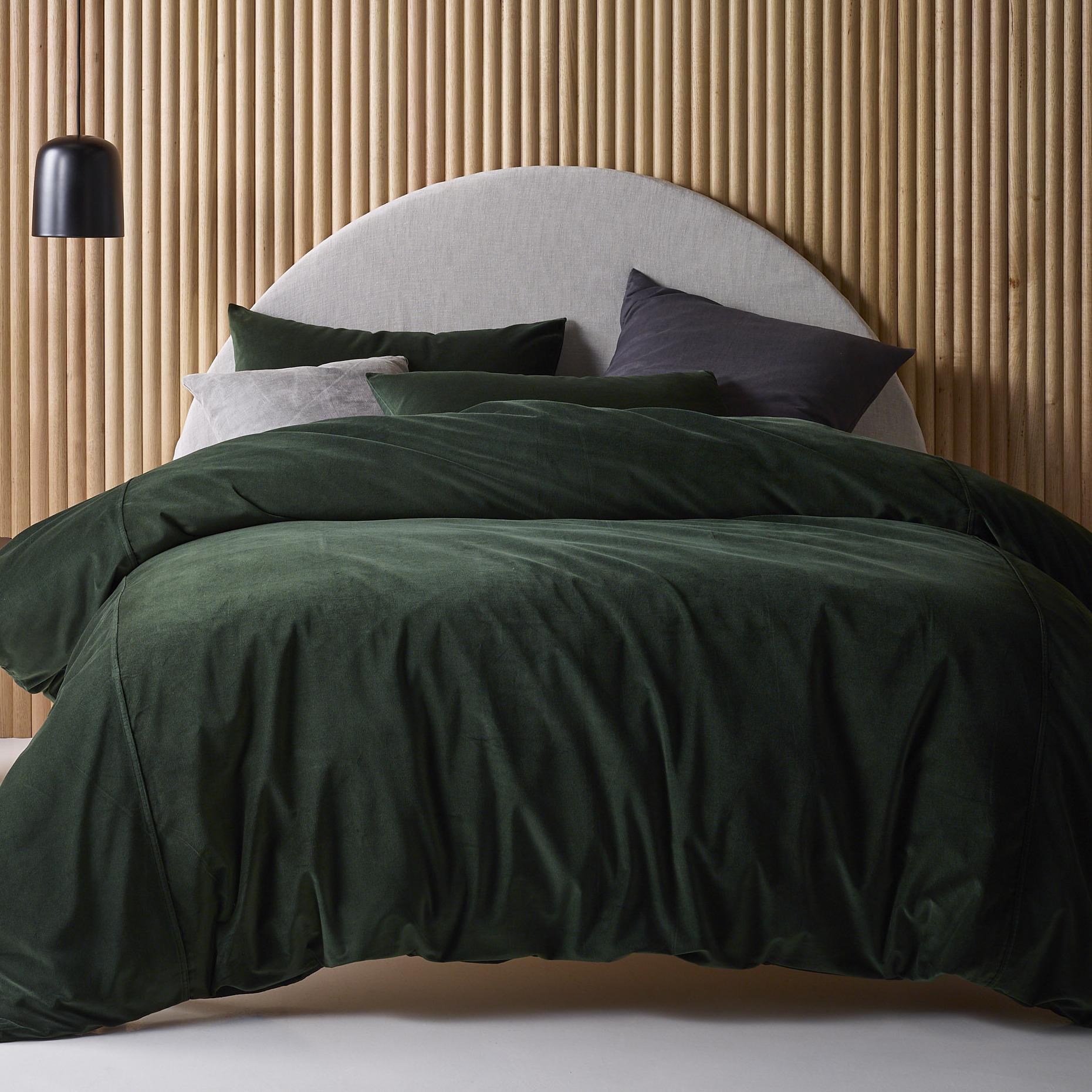 Vintage Design Green Forest Velvet Quilt Cover Set Temple Webster