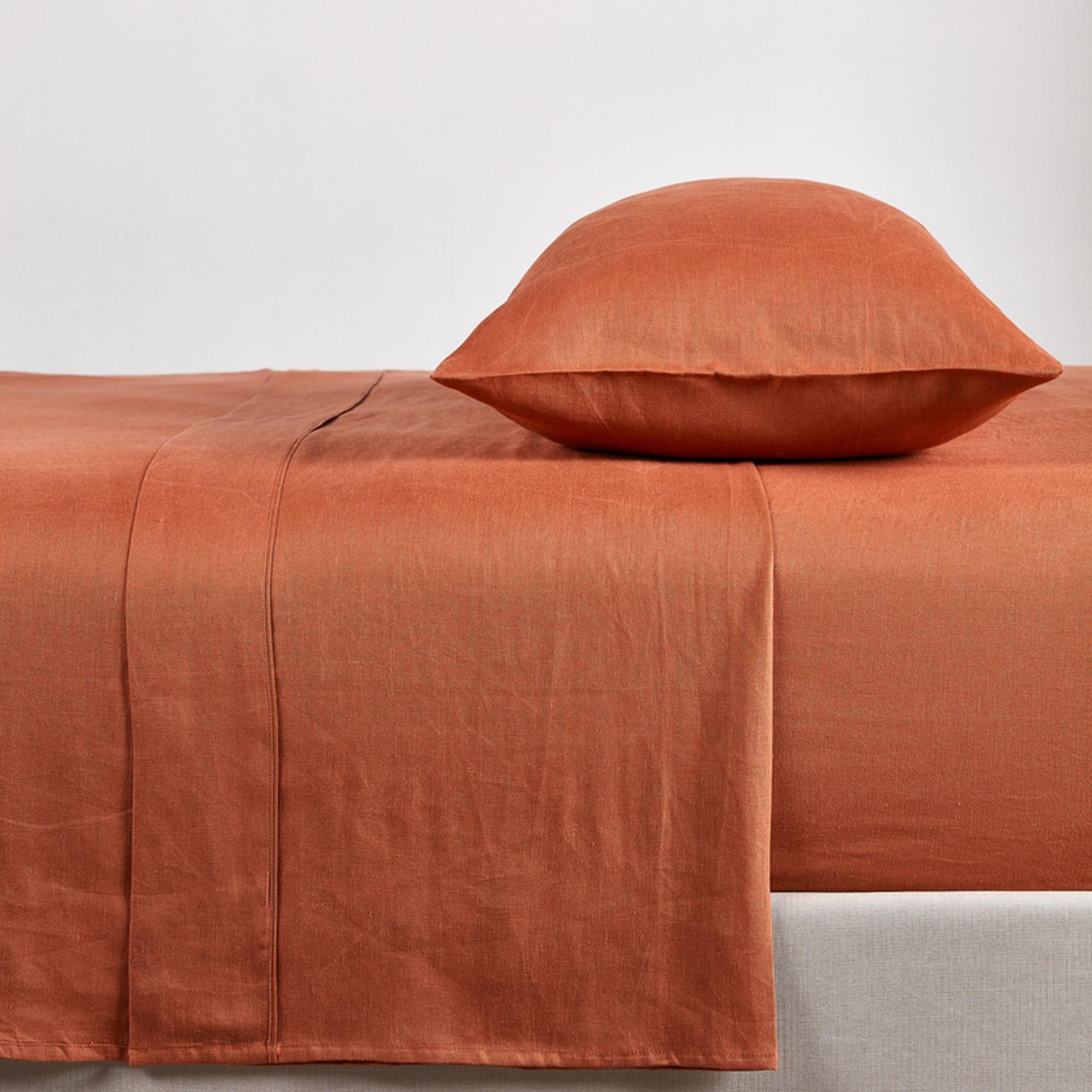 Vintage Design Clay French Linen Sheet Set Temple Webster