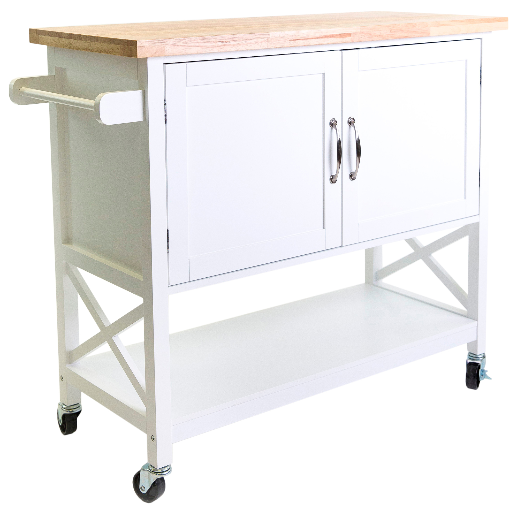 Crosley Roots Rack Industrial Kitchen Cart In Natural: Kitchen Carts House Furniture New Elwood Kitchen Trolley