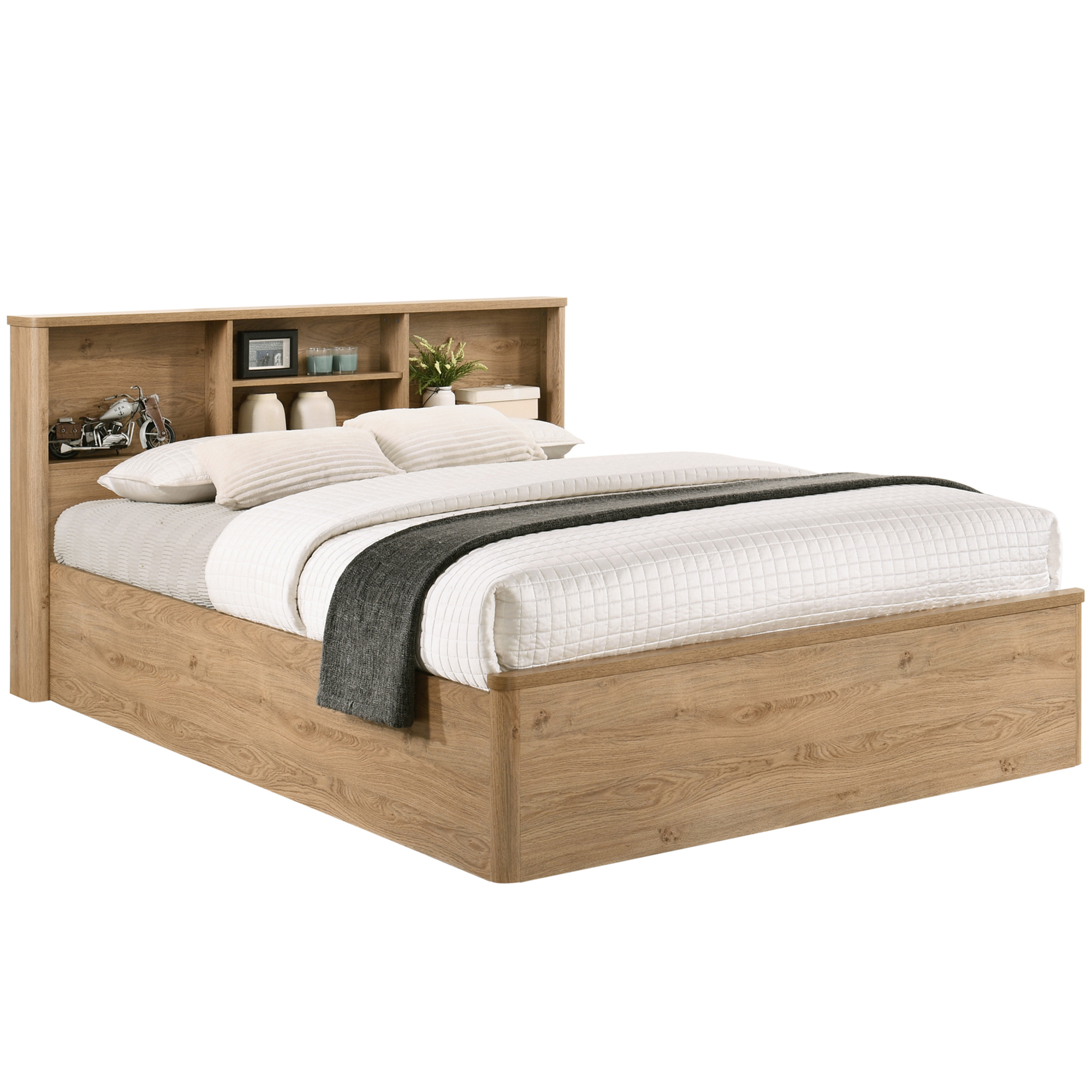 New Natural Anderson Queen Bed With Bookcase Headboard Kodu Beds Ebay