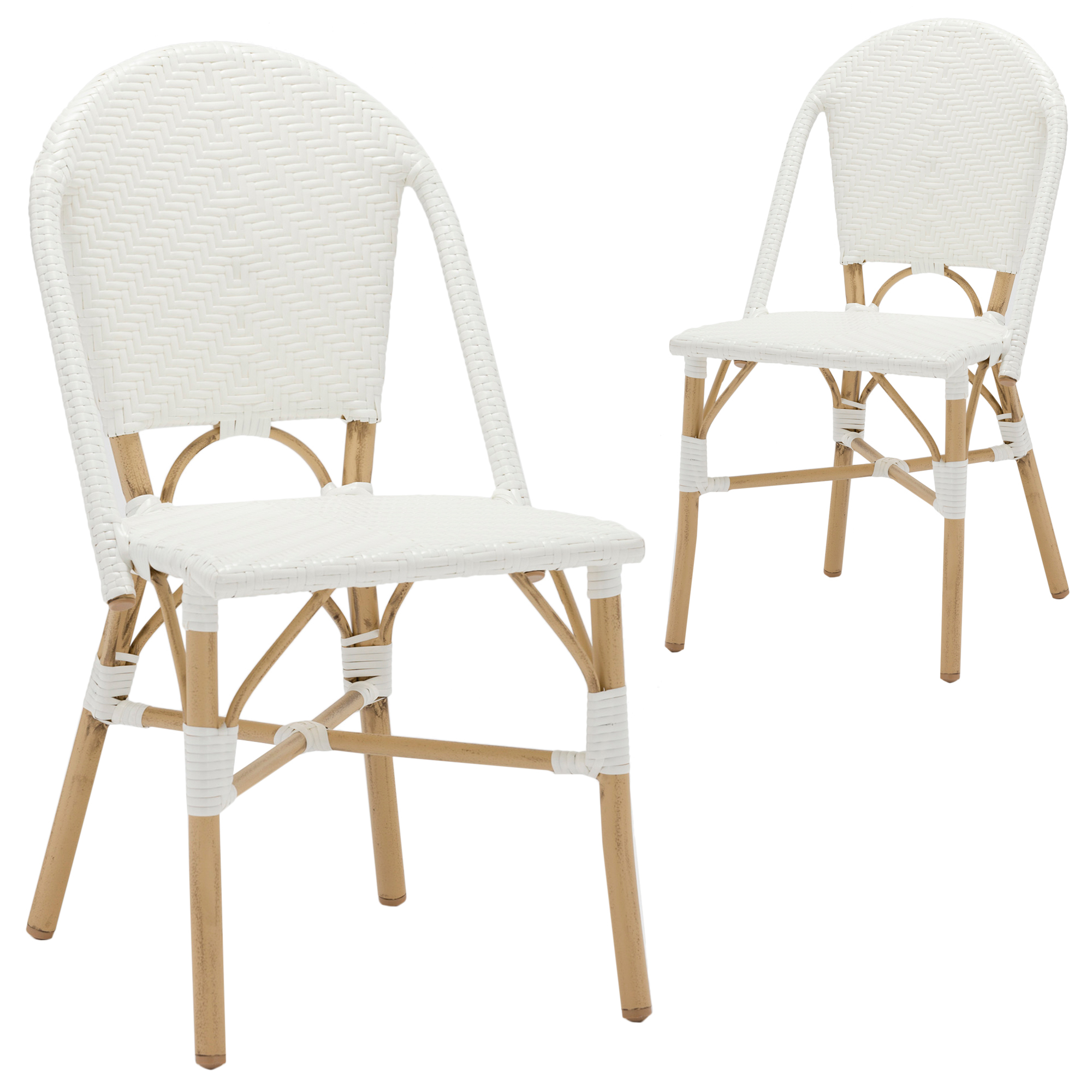 New set of 2 white paris pe rattan cafe dining chairs ebay - White wicker bathroom accessories ...