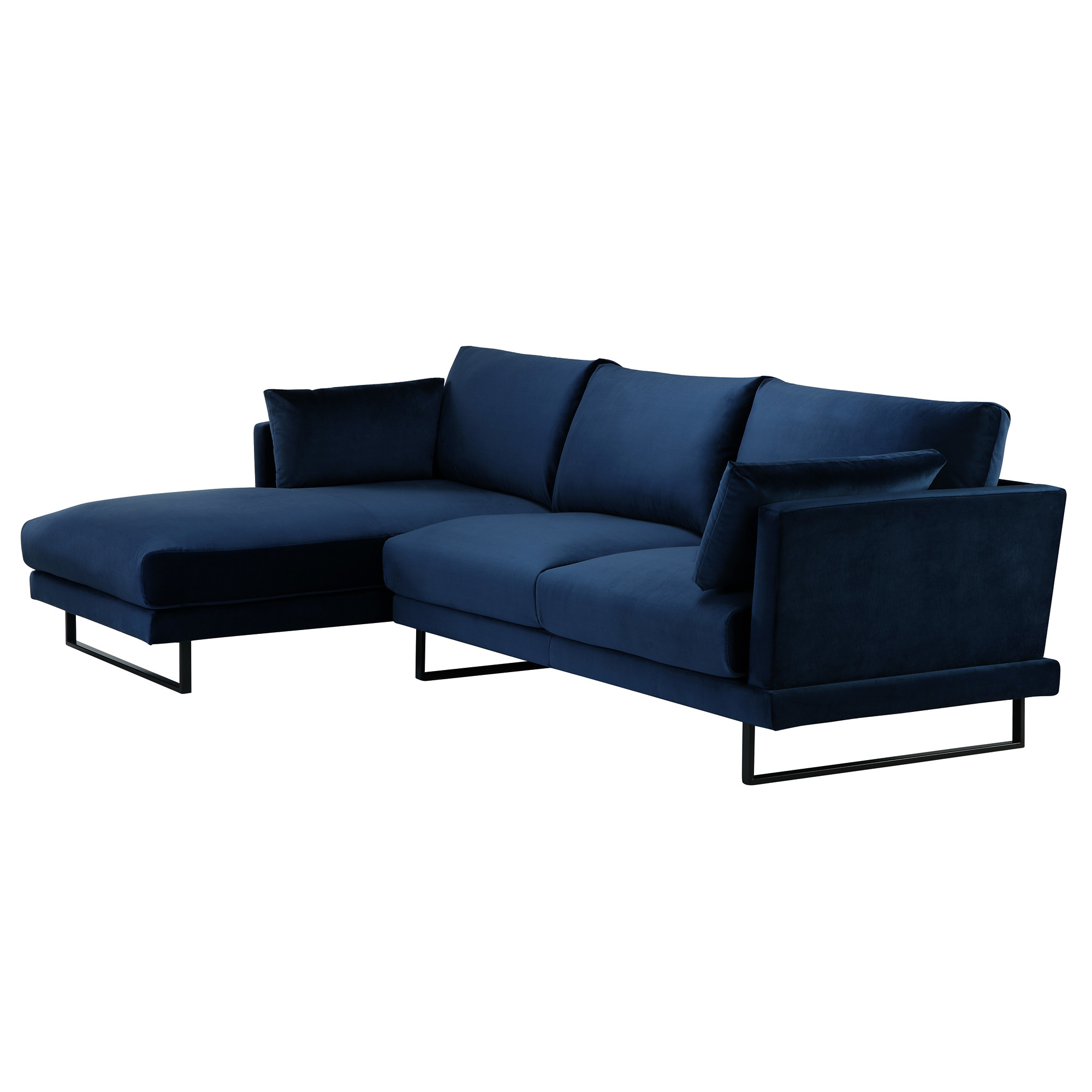 Sku #Tmpl1079 3 Seater Navy Velvet Zanda L Shaped Sofa Is