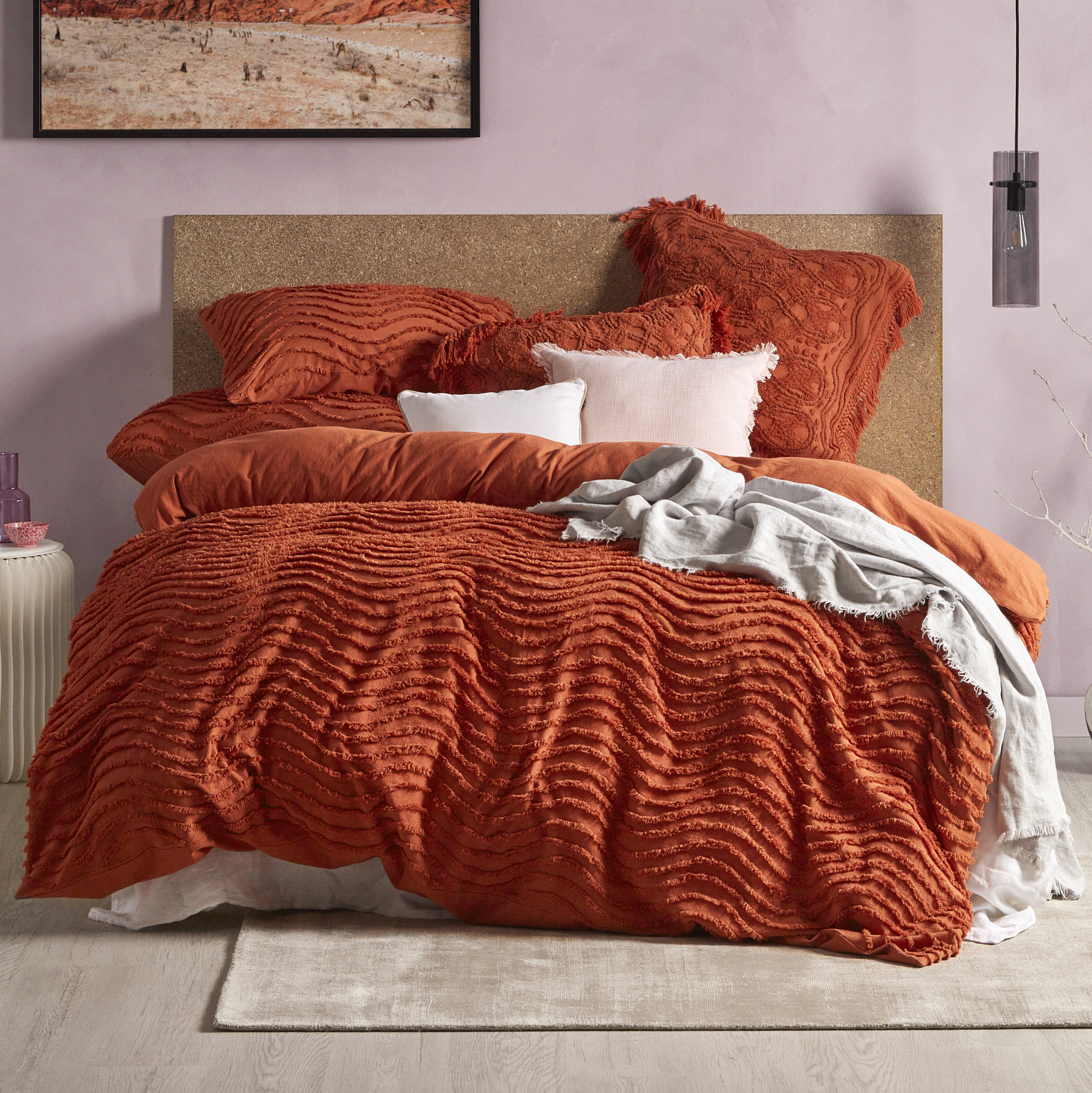 Temple Webster Rust Delilah Quilt Cover Set