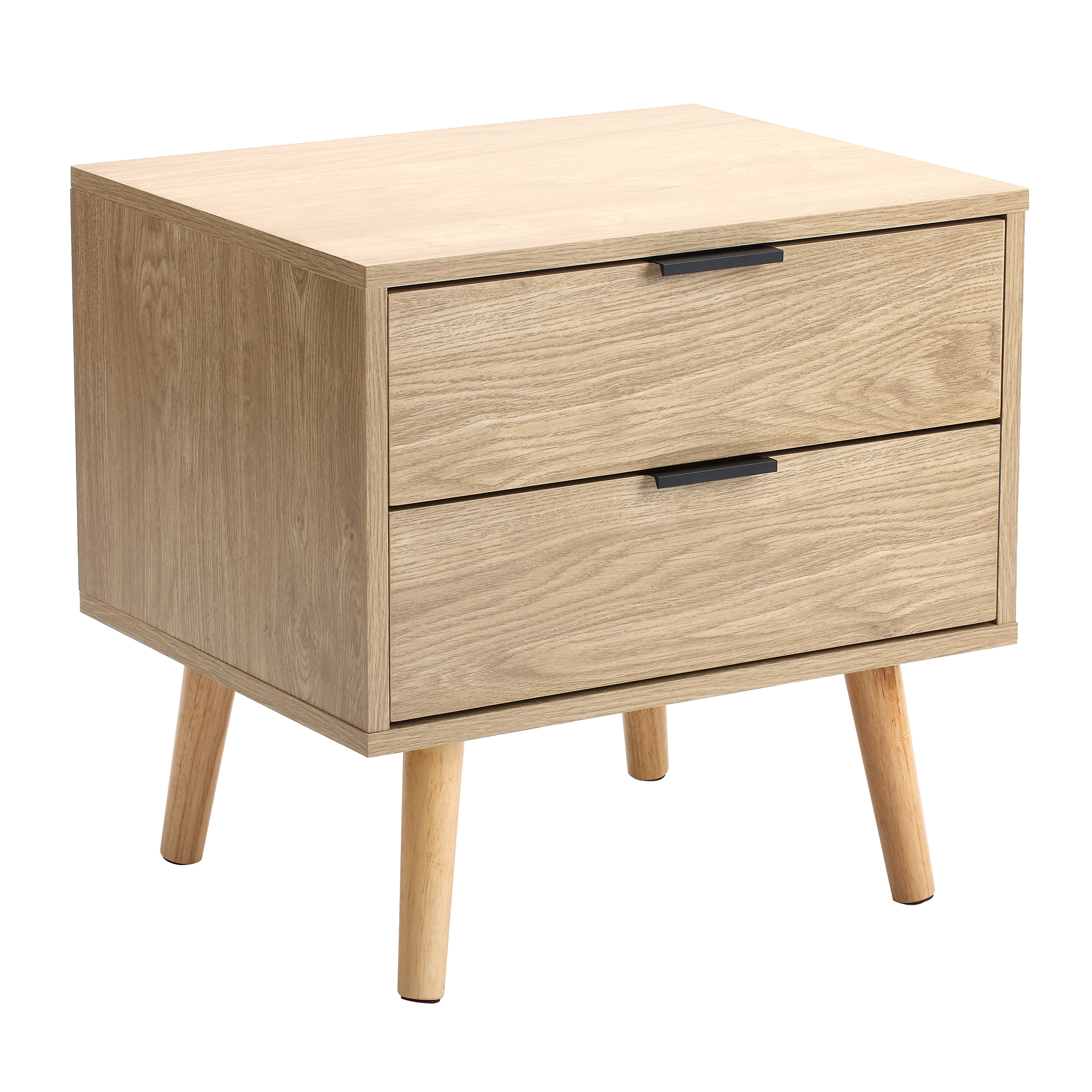 Temple Webster Natural Lars 2 Drawer Bedside Table