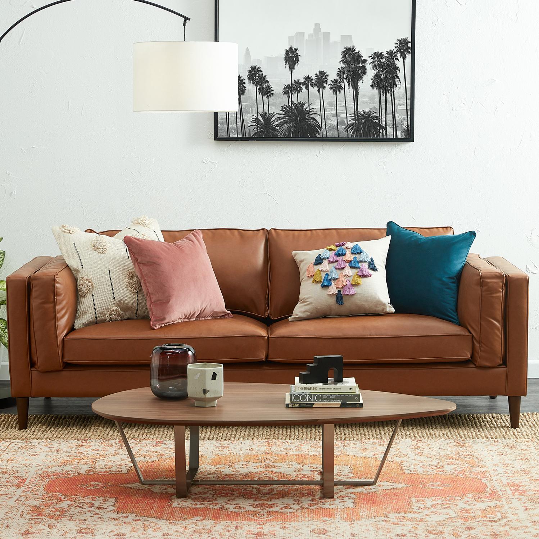 Temple Webster Tan Brahm 3 Seater Premium Faux Leather Sofa Reviews