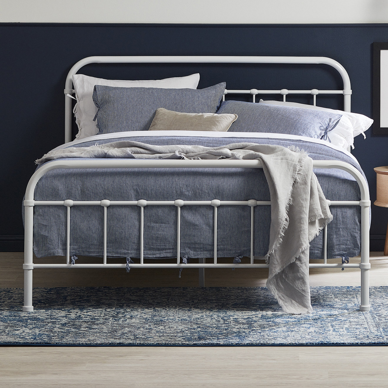 Temple Webster White Bailey Metal Bed Frame