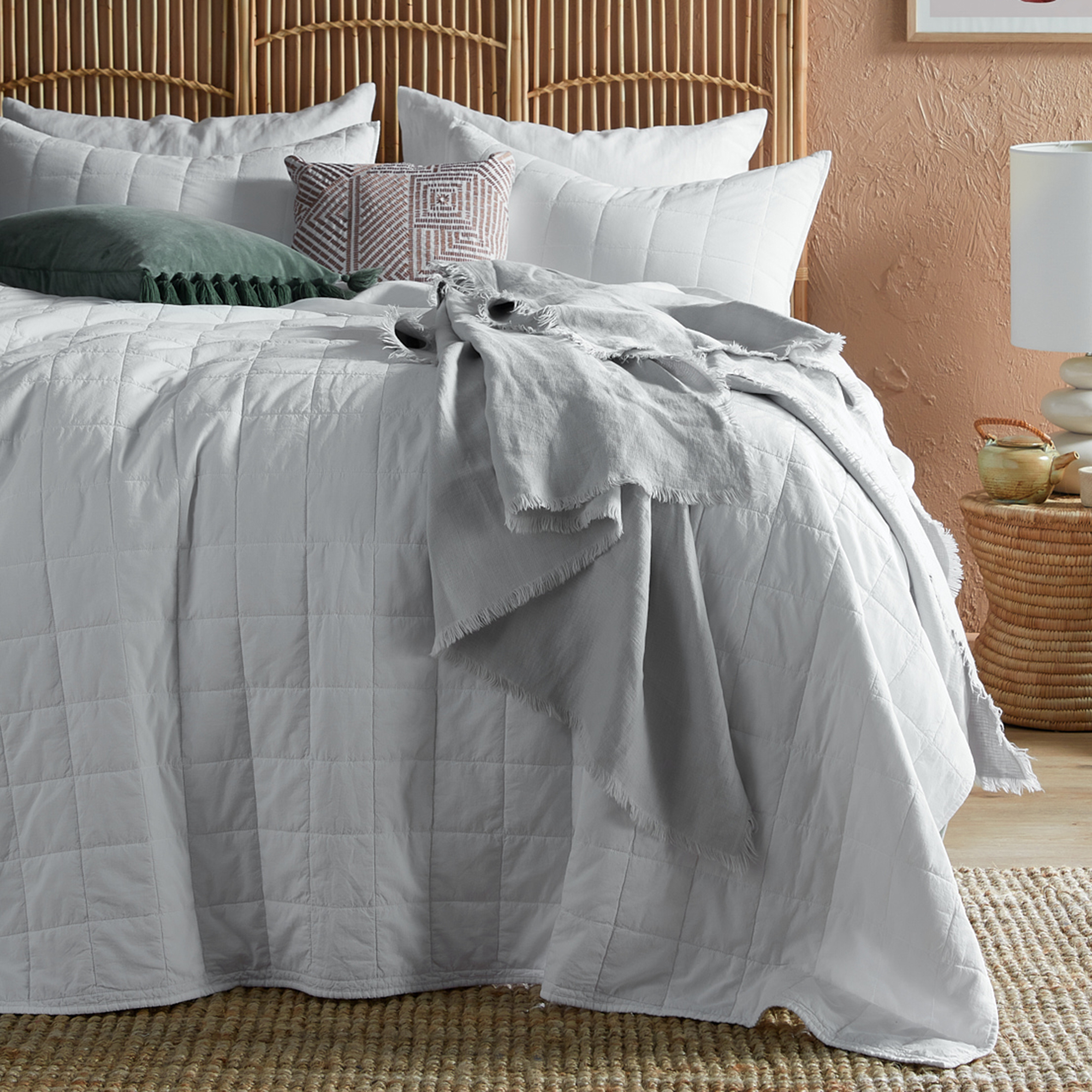 Temple Webster White Washed Cotton Coverlet Set