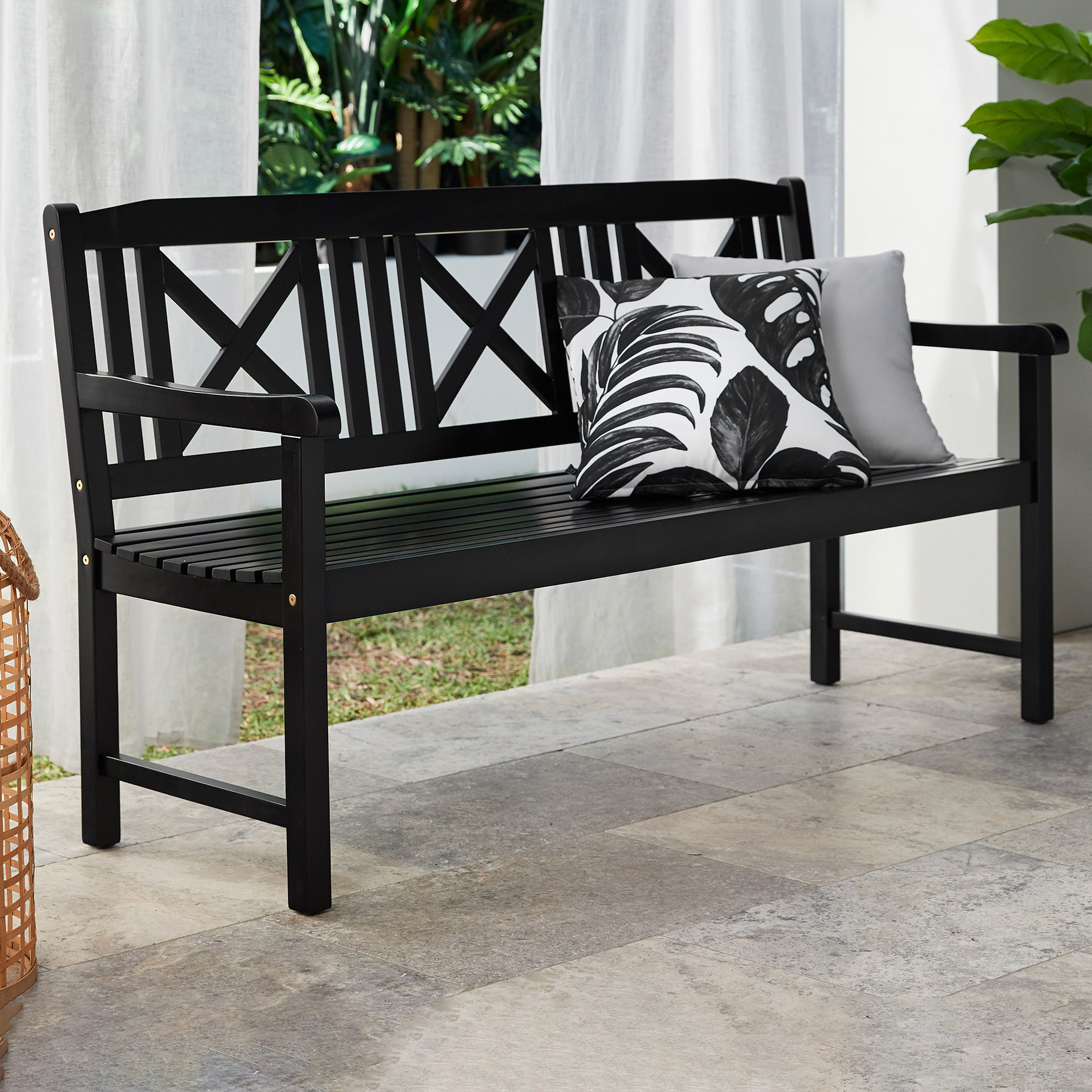 Picture of: Temple Webster Black Santa Cruz 3 Seater Acacia Wood Outdoor Bench Reviews