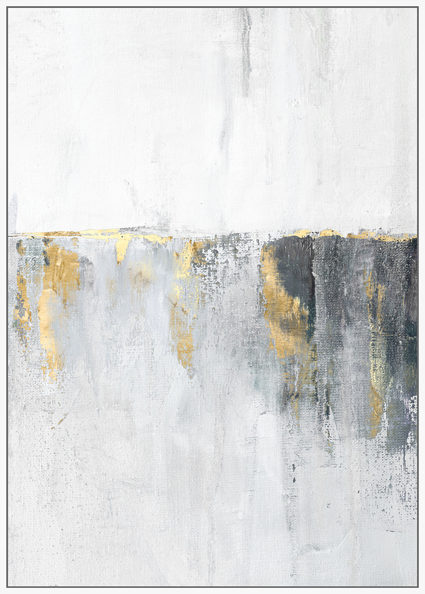 Grey & Gold Horizon Abstract Framed Canvas Wall Art | Temple & Webster
