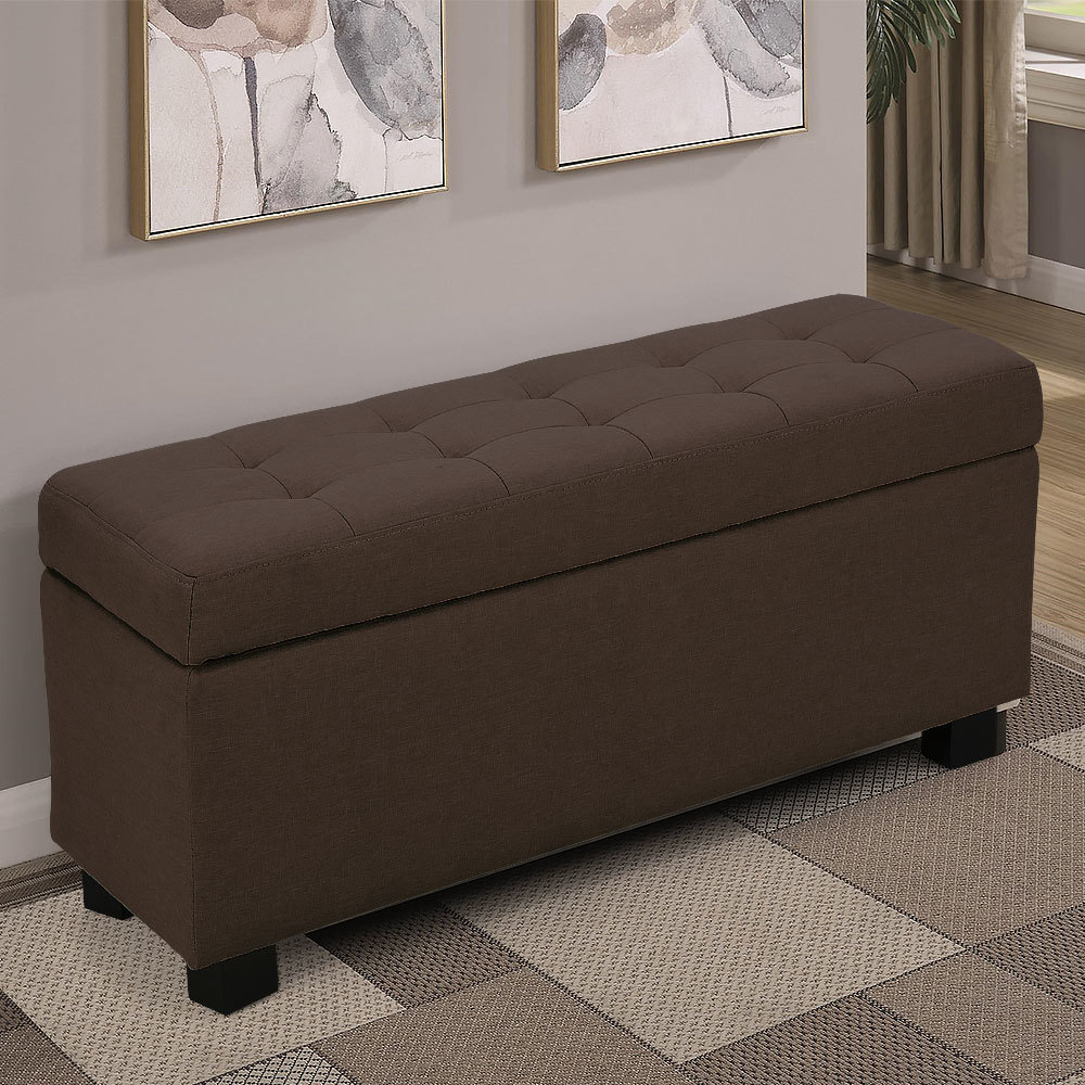 Ottomans Deacon Beige Upholstered Blanket Box: NEW Large Fabric Storage Box Ottoman