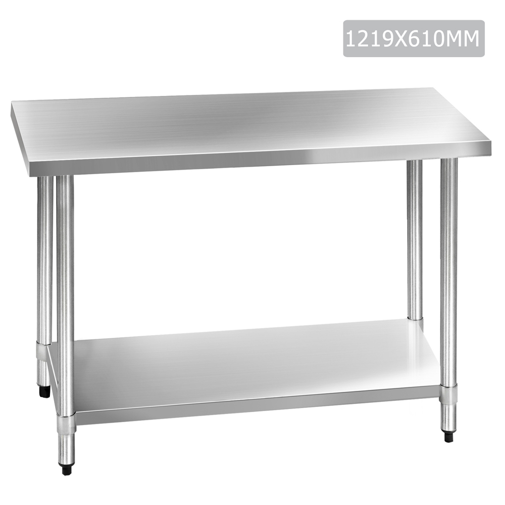 Sku ilif3344 304 stainless steel kitchen work bench table is also sometimes listed under the following manufacturer numbers sskb 304s 48 sskb 304s 60