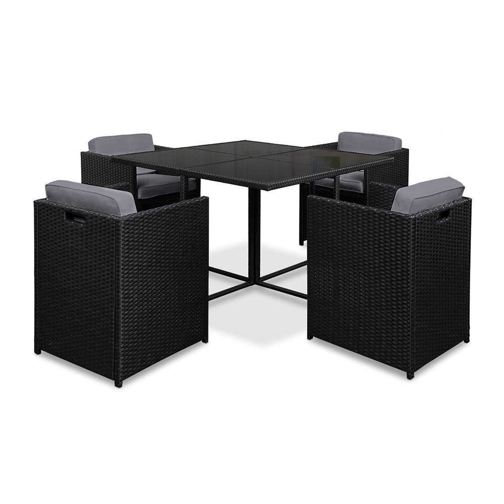 Black White Rio Seater Dining Set Temple Webster - 5 seater dining table