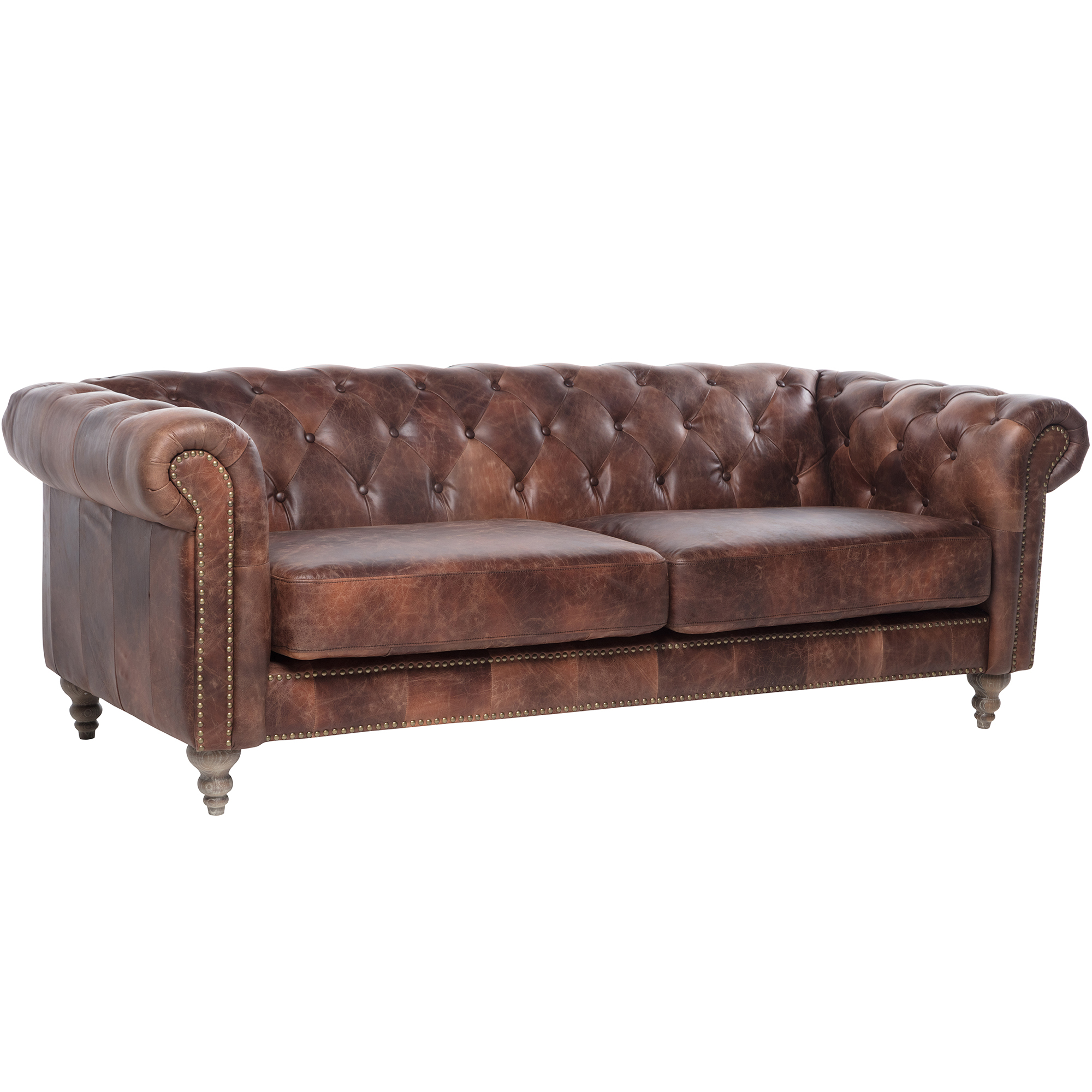 Hugo Chesterfield 3 Seater Leather Sofa