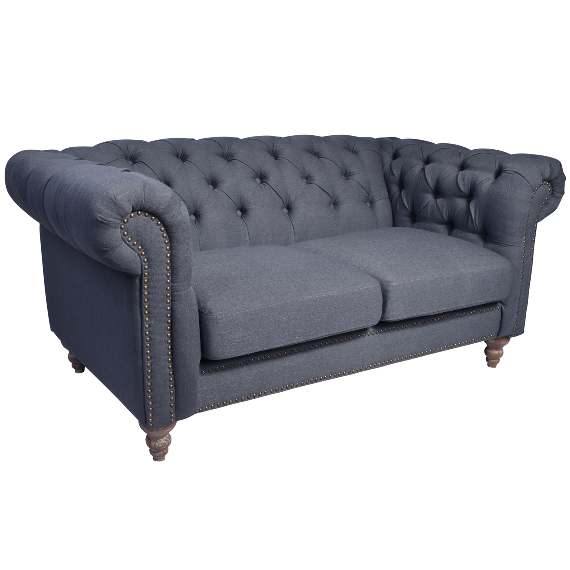 Picture of: Victoria 2 Seater Grey Linen Chesterfield Sofa Temple Webster