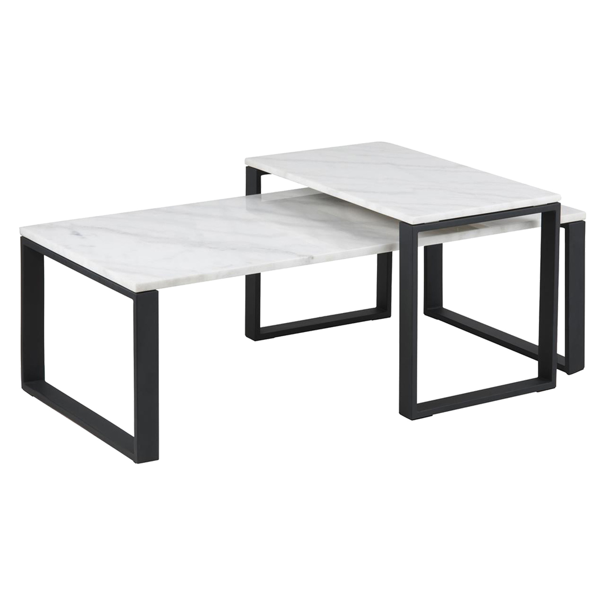 Picture of: 2 Piece Manhattan Marble Nesting Coffee Tables Set Temple Webster