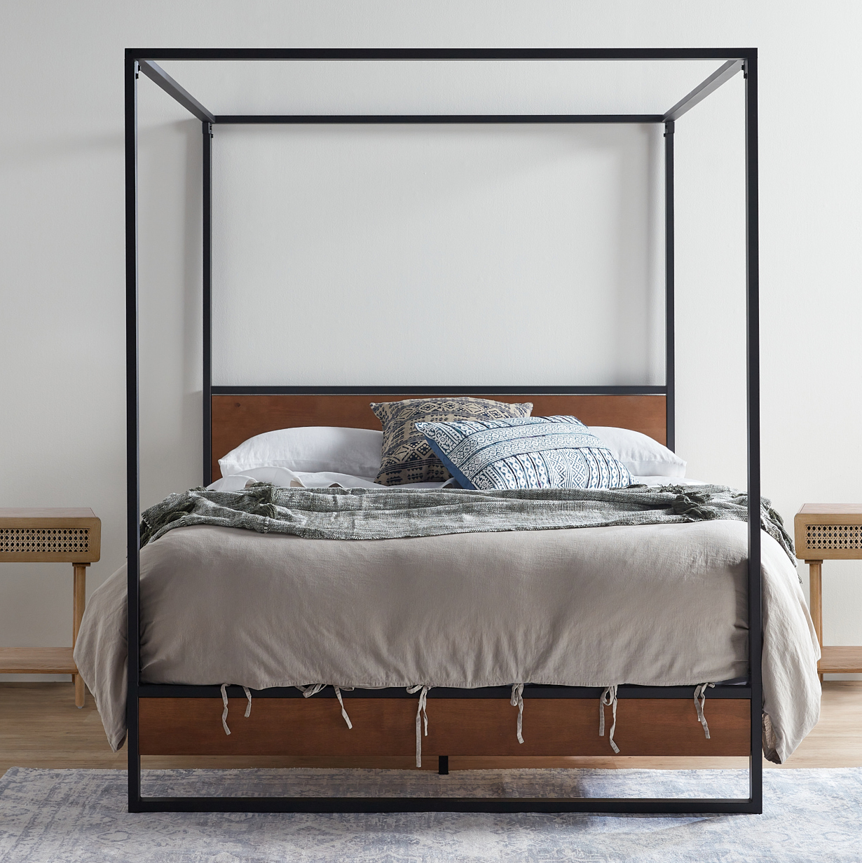 Picture of: Studio Home Houston Timber And Metal Canopy Four Poster Bed Reviews Temple Webster