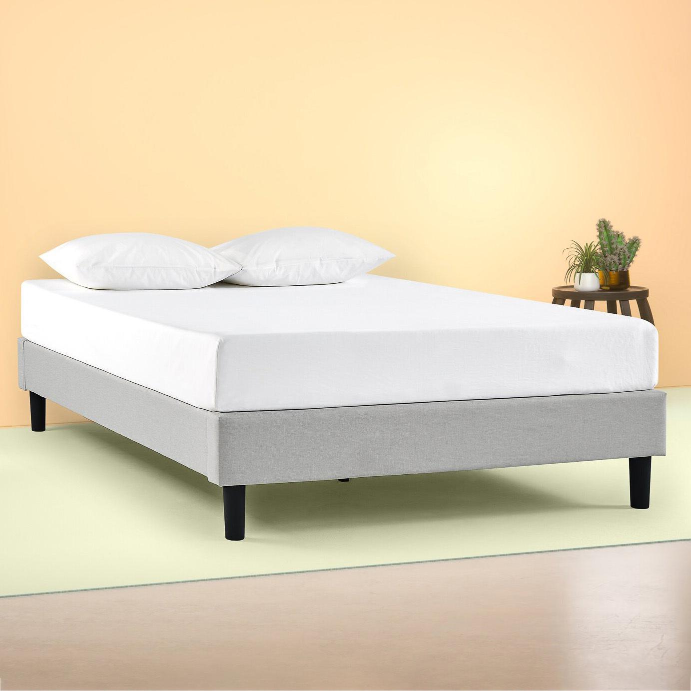 Studio Home Light Grey Cameron Upholstered Bed Base Reviews Temple Webster