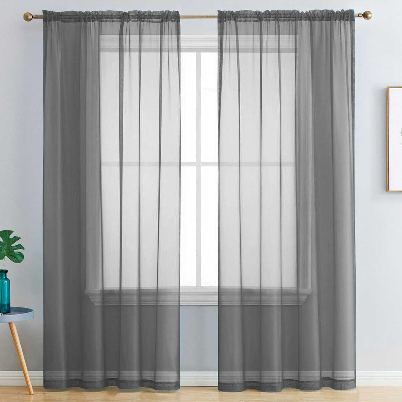 Luxton Dark Grey Luxton Rod Pocket Voile Sheer Curtains Reviews Temple Webster