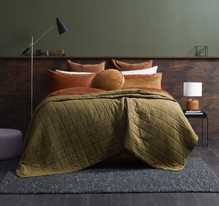 Autumn Bedroom Burnt orange & Forest green photo by Temple & Webster