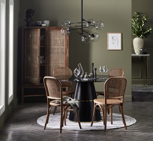 Black & Rattan Dining Set photo by Temple & Webster