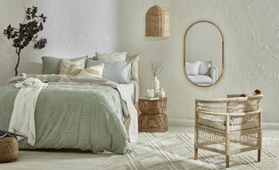Coastal Mint & Rattan Bedroom photo by Temple & Webster